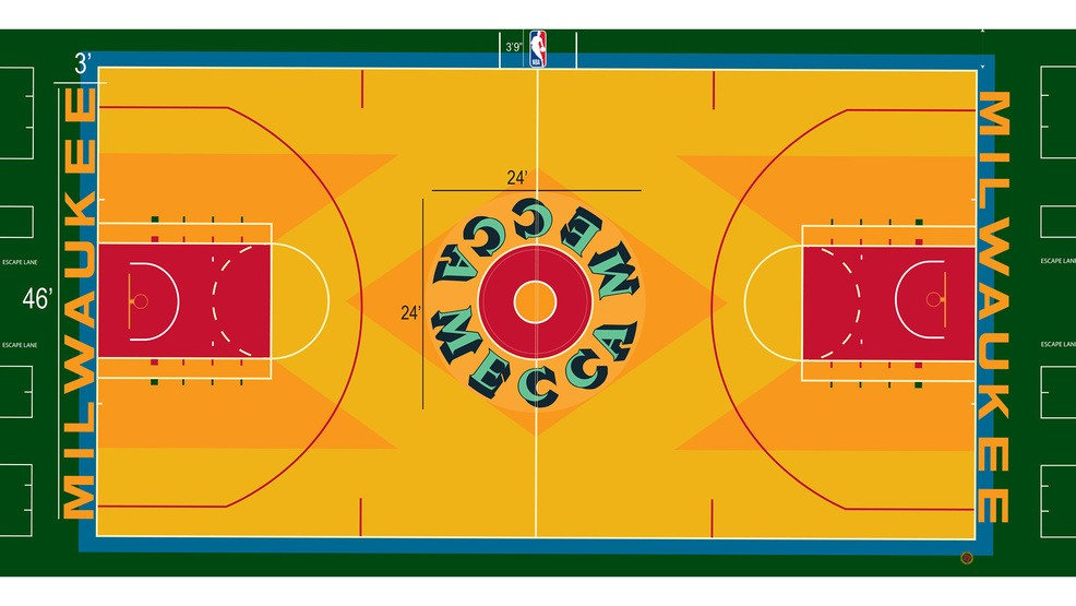 bdf617a3e53f Bucks bringing back classic court design for  Return to the MECCA  game