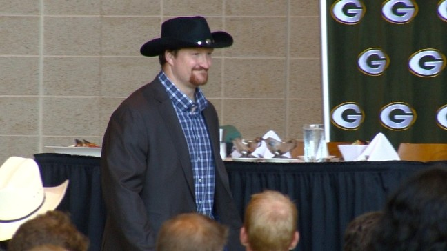 8c38d20a37ed0 5. VIEW ALL PHOTOS. Green Bay Packers quarterback Aaron Rodgers enters the Welcome  Back Packers luncheon dressed in western ...