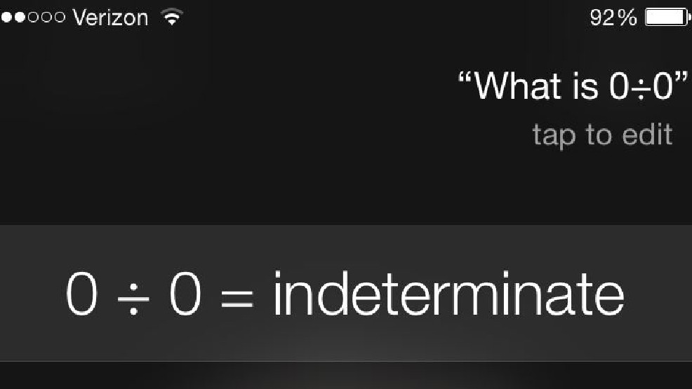 Ask Siri To Divide 0 By 0 And She Gets Snarky Wluk