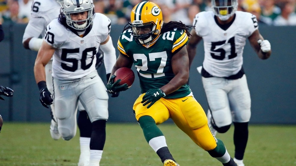 983c619bf 18, 2016, file photo, Green Bay Packers running back Eddie Lacy (27) rushes  against the Oakland Raiders during the first half of a preseason game in  Green ...
